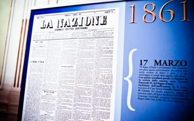 Esposizione copertine de La Nazione al Teatro La Pergola